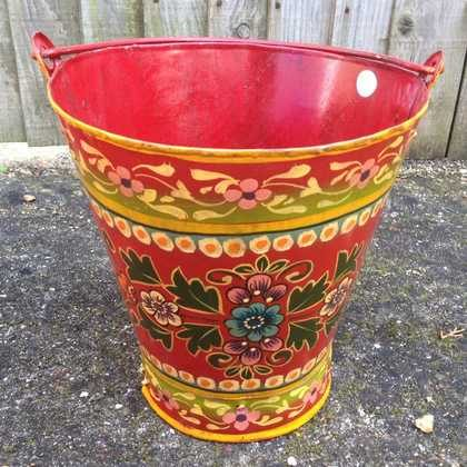 kh11-RS-88 indian furniture hand painted bucket colourful red