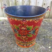 kh11-RS-88 indian furniture hand painted bucket colourful blue