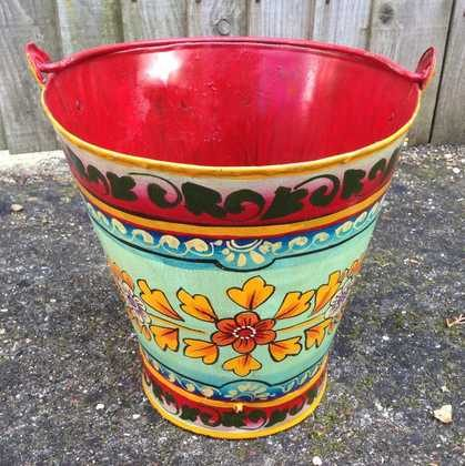 kh11-RS-88 indian furniture hand painted bucket colourful
