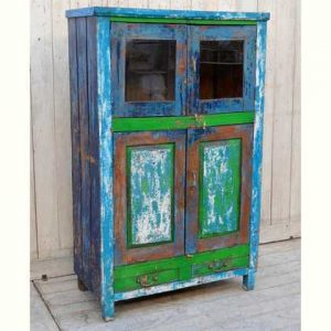 kh12-rs-81 indian furniture cabinet green blue colourful