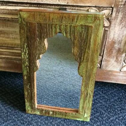 kh14-rs18-071 indian furniture mihrab mirror green