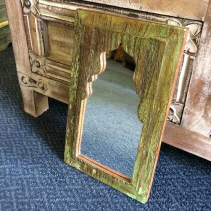 kh14-rs18-071 indian furniture mihrab mirror green side