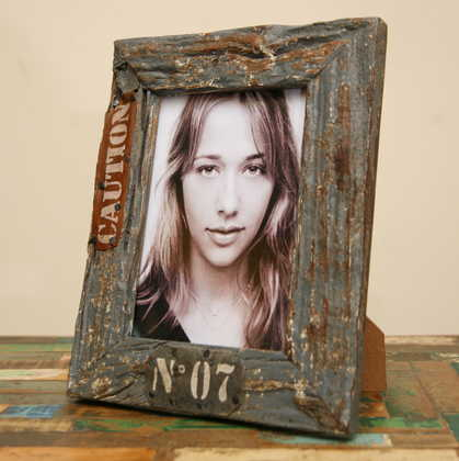 kh5-m2650 indian accessory gift photo frame-large 7.75x5.5 rustic