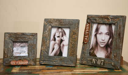 kh5-m2650 indian accessory gift photo frame set of 3 rustic