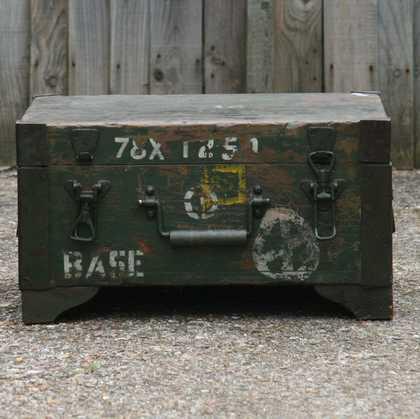 kh7-kr-70a indian furniture box storage military original front detail
