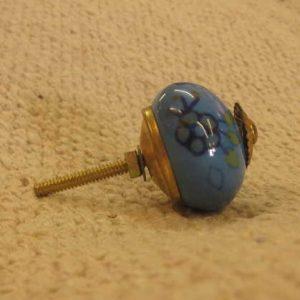 n0249f indian accessory knob unusual floral blue side