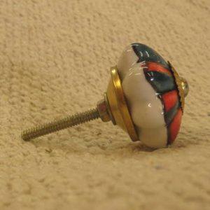 n0249g indian accessory knob unusual flower green red