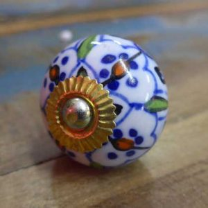n0249m - indian ceramic hand painted drawer or door knob decorative round front
