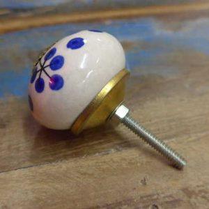 n0249q – indian ceramic hand painted drawer or door knob clock round