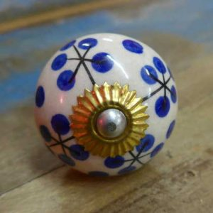 n0249q - indian ceramic hand painted drawer or door knob clock round front