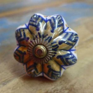 n0249r - indian ceramic hand painted drawer or door knob brown flower front