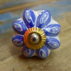 n0249s - indian ceramic hand painted drawer or door knob blue flower front