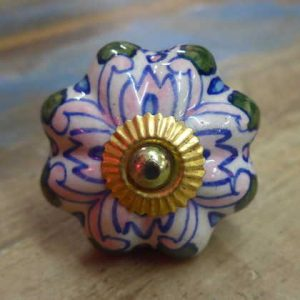 n0249t - indian ceramic hand painted drawer or door knob patterned flower front