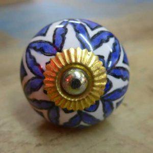 n0249v - indian ceramic hand painted drawer or door knob blue flower round front