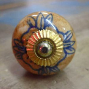 n0249w - indian ceramic hand painted drawer or door knob brown round front