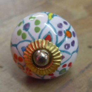 n0249x - indian ceramic hand painted drawer or door knob pretty round front