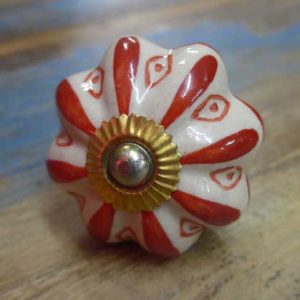 n0249z - indian ceramic hand painted drawer or door knob red flower front