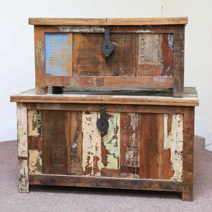k60-80387 indian furniture trunk storage reclaimed big small