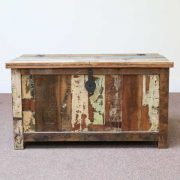 k60-80387 indian furniture trunk storage reclaimed large unusual closed