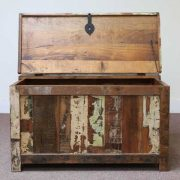 k60-80387 indian furniture trunk storage reclaimed large unusual open