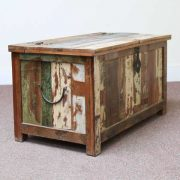 k60-80387 indian furniture trunk storage reclaimed large closed angleq