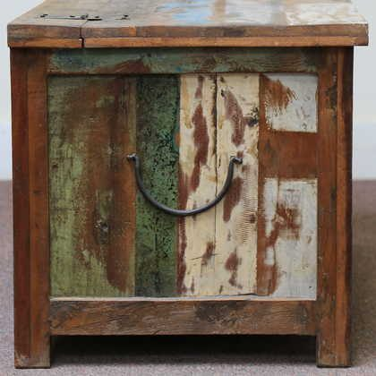 k60-80387 indian furniture trunk storage reclaimed large handle