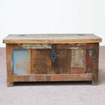 k60-80387 indian furniture trunk storage reclaimed small closed front