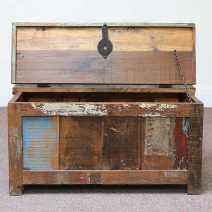 k60-80387 indian furniture trunk storage reclaimed small open front