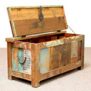 k60-80387 indian furniture trunk storage reclaimed small open