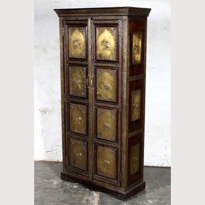 K64-60111 indian furniture cabinet brass elephants grand eye catching