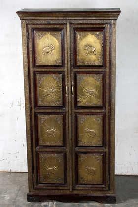 K64-60111 indian furniture cabinet brass elephants grand