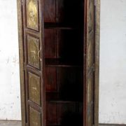K64-60111 indian furniture cabinet brass elephants open doors