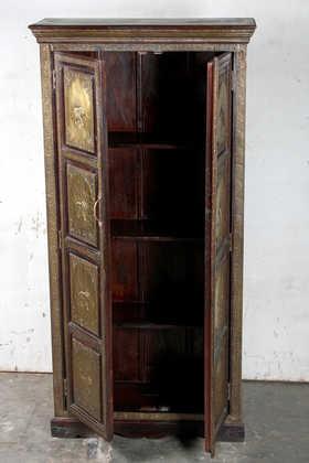K64-60111 indian furniture cabinet brass elephants open doors