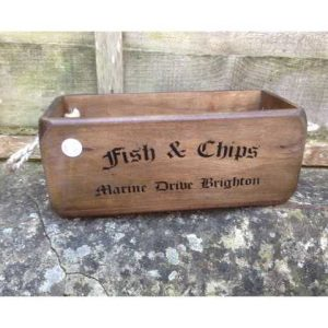 VBs-Fish wooden box crate vintage fish chips Brighton