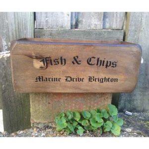 VBs-Fish wooden box crate vintage fish chips Brighton marine drive