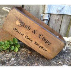 VBs-Fish wooden box crate vintage fish chips Brighton English