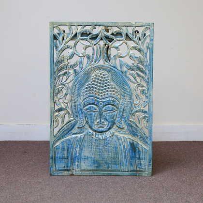 k60-80218 indian wall plaque buddha blue striking