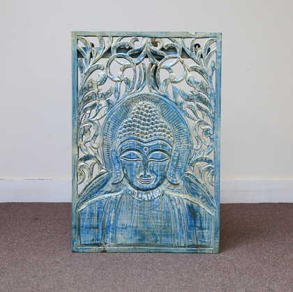 k60-80218 indian wall plaque buddha blue striking