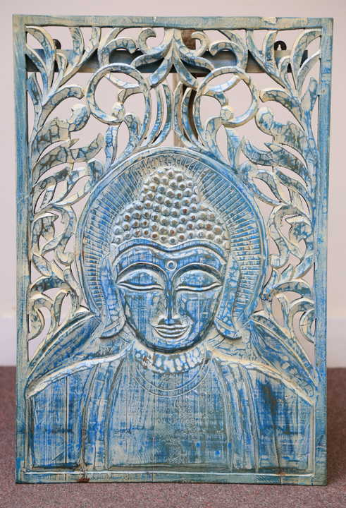 k60-80218 indian wall plaque buddha blue 2 close carved