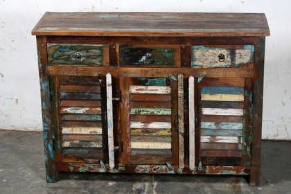 k61-80369 indian furniture sideboard reclaimed shutter 3 door 3 colourful