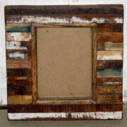 k61-80455 indian furniture mirror wood block distressed