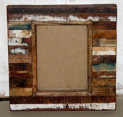 k61-80455 indian furniture mirror wood block distressed
