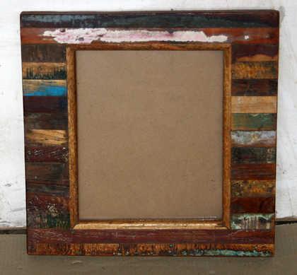 k61-80457 indian furniture mirror wood block chunky