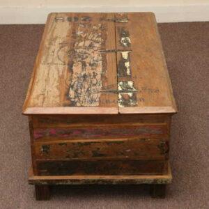 kh5-m0114 indian furniture trunk reclaimed top