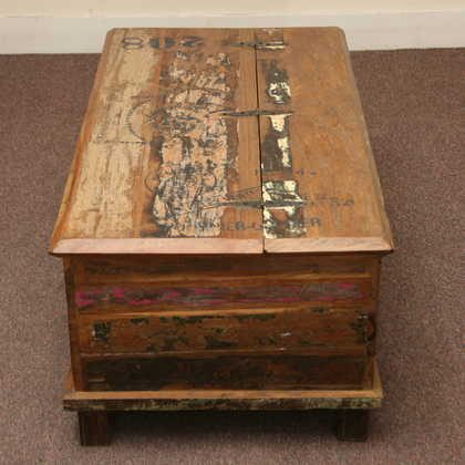 kh5-m0114 indian furniture trunk reclaimed top
