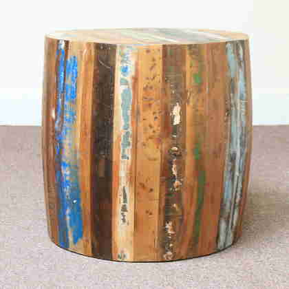 k60-80356 indian furniture side table barrel reclaimed wood stool