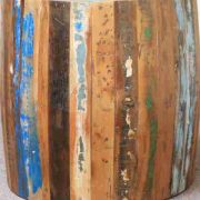 k60-80356 indian furniture side table barrel reclaimed wood distressed finish