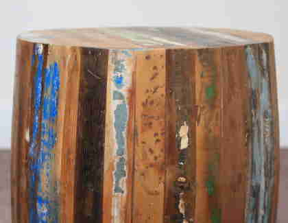 k60-80356 indian furniture side table barrel reclaimed wood colourful
