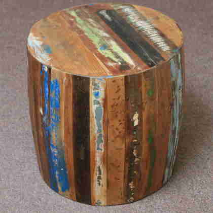 k60-80356 indian furniture side table barrel reclaimed wood quirky