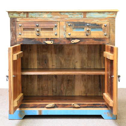 k60-j57-3012 indian sideboard bundi reclaimed 2 drawer open cupboard